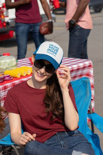 Trucker Hat Mockup of a Woman at a Tailgate Party 29873