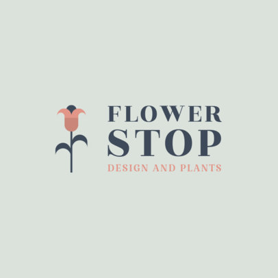 Flower Shop Logo Template with a Minimal Style