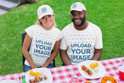 Mockup of Two Friends at a BBQ Party Wearing Customizable T-Shirts and Dad Hats 29703