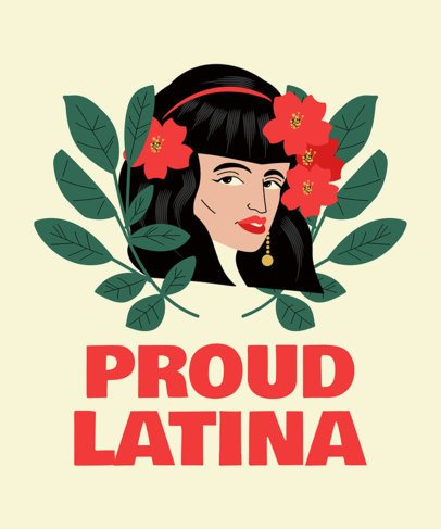 Latina-Inspired T-Shirt Design Maker with a Woman Illustration 1918