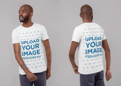 Front and Back T-Shirt Mockup of a Man in a Studio 29610