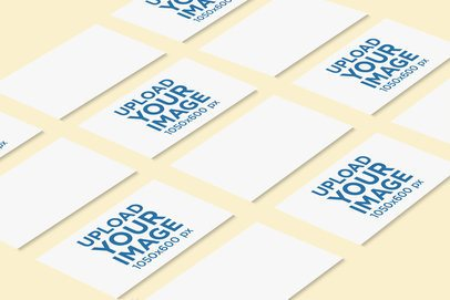 Mockup of Several Business Cards Lying on a Colored Surface 756-el