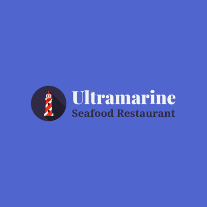 Minimal Seafood Restaurant Logo Template Featuring a Lighthouse Illustration 1801g 63-el