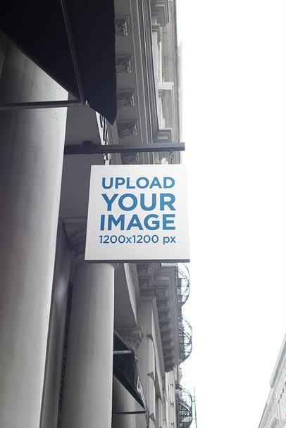 Squared Shop Sign Mockup at a Classic Building Facade 686-el