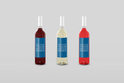 Mockup of Three Wine Bottles Placed Against a Customizable Background 30119