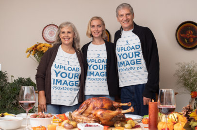 T-Shirt Mockup Featuring a Family at a Thanksgiving Dinner 29934