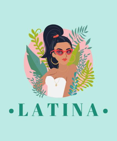 T-Shirt Design Maker with an Illustrated Latina Woman 1919b