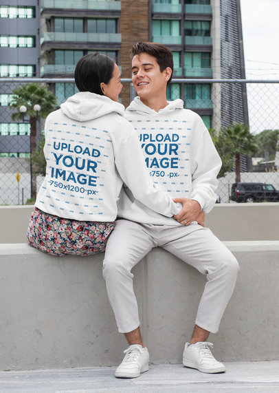 Front and Back Hoodie Mockup Featuring a Tender Couple 29772