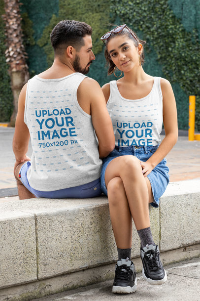Front and Back Mockup of a Couple Wearing Tank Tops 29779