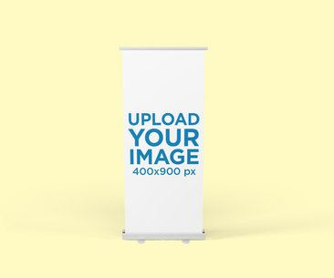 Banner Mockup Featuring a Roll-Up Banner with a Plain Color Background 813-el