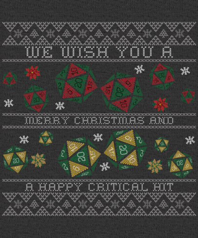 Ugly Christmas Sweater Generator Featuring Polyhedral Dices Clipart 1914e