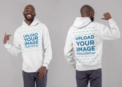 Mockup of a Man with a Hoodie Pullover Seen from Both Sides 29644