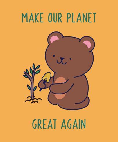 Cute T-Shirt Design Template of a Bear Planting a Tree 1921d
