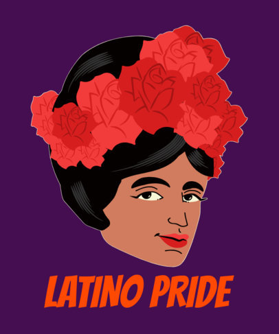 T-Shirt Design Template with a Proud Latina Illustration 1918a