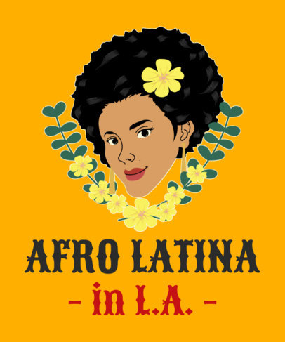 T-Shirt Design Creator of an Afro Latina Woman Illustration with Flowers 1918f