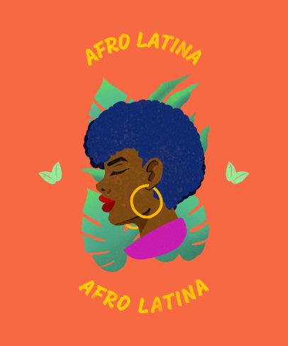 T-Shirt Design Template Featuring a Proud Afro Latina Woman 1917d