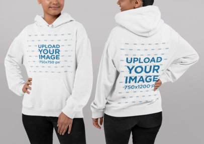 Both Sides Mockup of a Woman Wearing a Pullover Hoodie in a Studio 29659