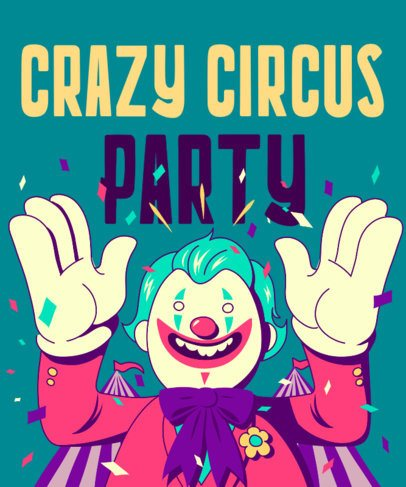 Party-Themed T-Shirt Design Generator with a Smiling Clown 1915g