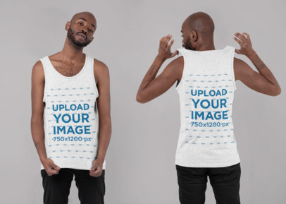 Both Sides Mockup of a Man Wearing a Heathered Tank Top in a Studio 29646