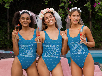 Swimsuit Mockup of Three Women in a Bachelorette Party 29674