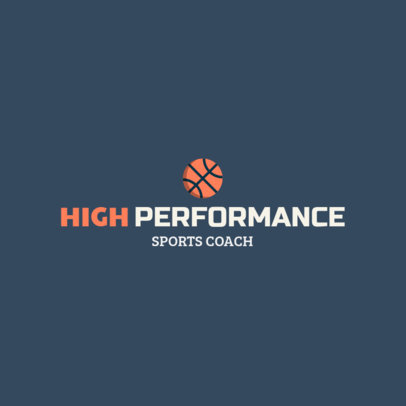 Sports Coach Logo Template Featuring a Basketball Clipart 1080h 23-el
