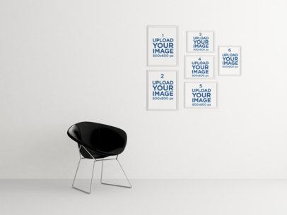 Mockup Featuring Six Art Prints and a Modern Black Chair 343-el