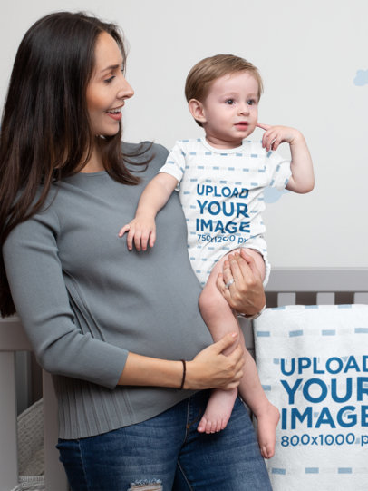 Sublimated Onesie Mockup of a Woman Holding Her Baby Boy 30007