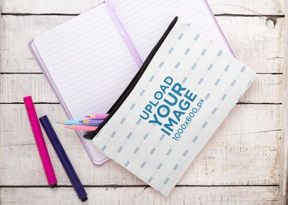 Pouch Mockup Featuring a Journal and a White Wooden Table 29985