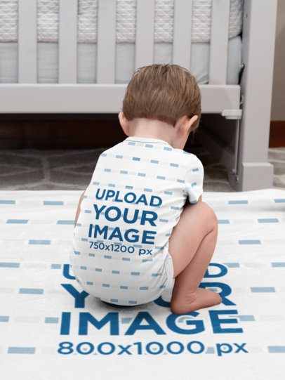 Back View Mockup of a Toddler Wearing a Onesie 30017