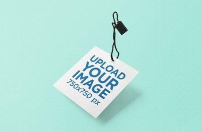 Minimalist Mockup of a Squared Brand Tag 857-el