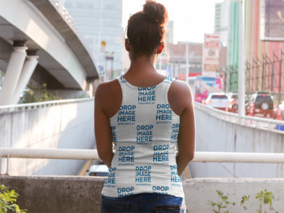 Back of a Black Mom to Be Wearing a Sublimated Tank Top Mockup on a Bridge a9651b