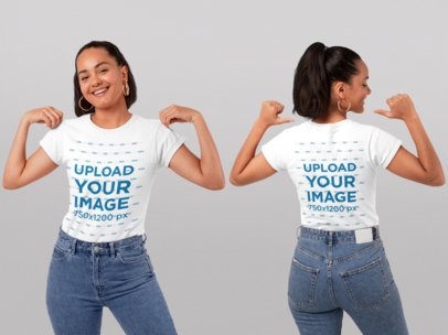 Front and Back Mockup of a Woman Pointing at Her T-Shirt at a Studio 29654
