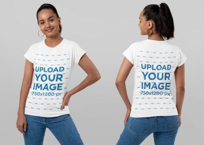 Both Sides T-Shirt Mockup of a Smiling Woman in a Studio 29651