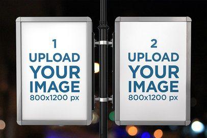 Mockup of Two Advertising MUPIs on a Lamp Post at Night 456-el