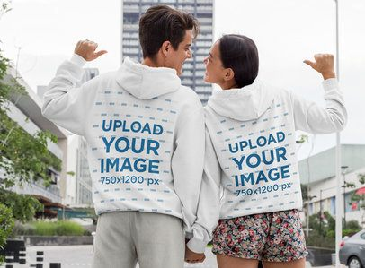 Mockup of a Romantic Couple Wearing Pullover Hoodies 30088