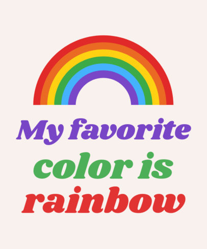 Minimalistic Rainbow T-Shirt Design Template 1291g