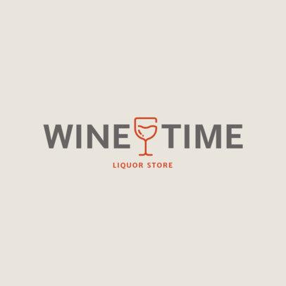 Minimalist Liquor Store Logo Template with a Glass of Wine Graphic 1812f-39-el