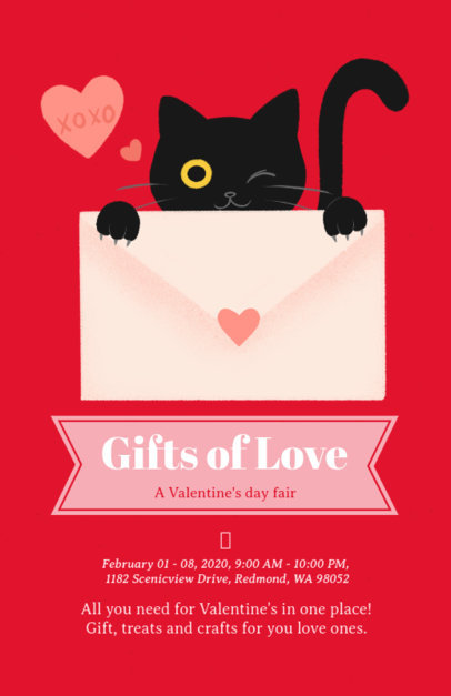 Flyer Maker for a Valentine's Fair with a Cat Clipart 200g-1962