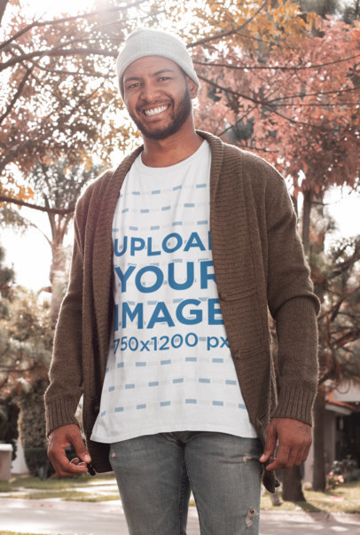 Mockup of a Bearded Man Wearing a Customizable T-Shirt in the Park in Autumn 30283