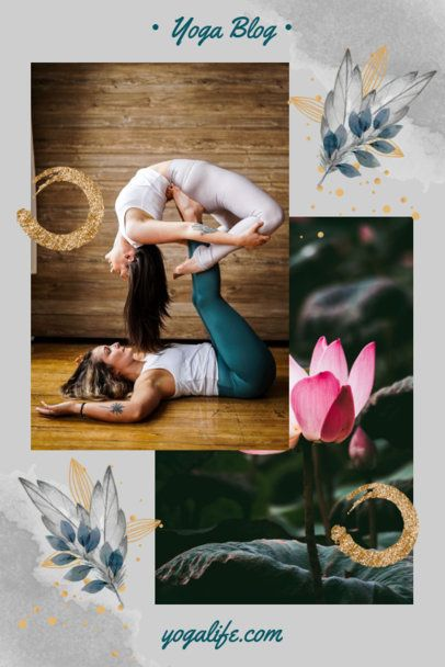 Yoga-Themed Pinterest Pin Template with a Scrapbook Style 1901i-1977