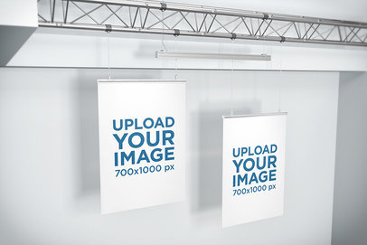 Mockup of Two Posters Hanging from a Ceiling Frame 905-el