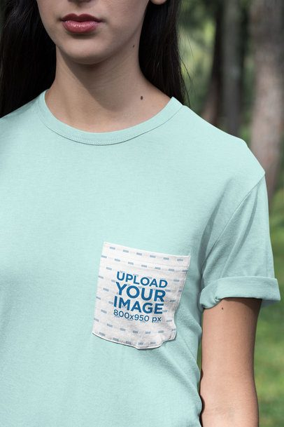 Pocket Tee Mockup of a Woman in Nature 30081