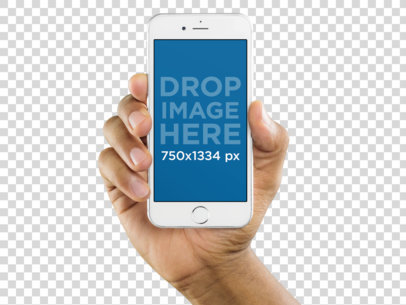 iPhone 6s Mockup Template of a Black Man Holding iPhone a10996