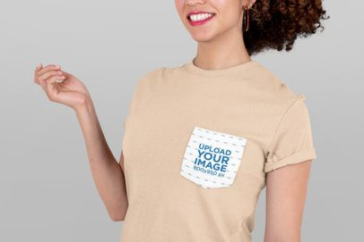 Triangle Pocket Tee Mockup of a Woman Smiling at a Studio 30058