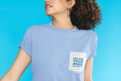 Mockup of a T-Shirt's Pocket Featuring a Curly-Haired Woman 30069