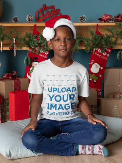 Mockup of a Kid Wearing a X-mas T-Shirt 30353