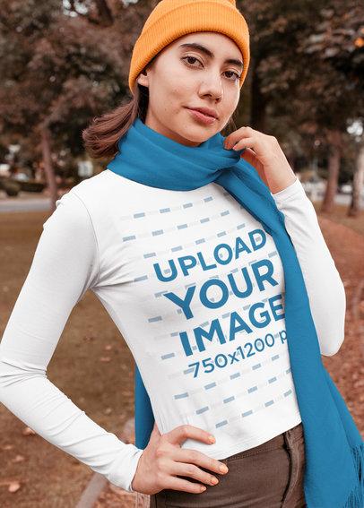 Mockup of a Woman Wearing a Long Sleeve Tee in the Fall Season 30115