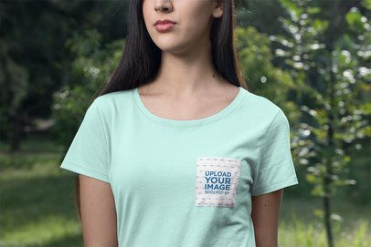 Mockup Featuring a Woman Wearing a Frontal Pocket Tee 30074