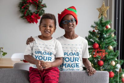 Mockup of Two Brothers Wearing Christmas T-Shirts 30354