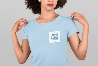 Cropped Face Pocket Tee Mockup of a Woman with Curly Hair 30060